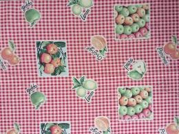 Jacquard karo rot-beige mit Äpfeln, Birnen, Zitronen und Orangen