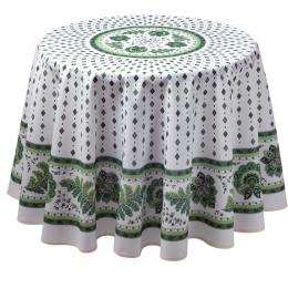 Provencetischdecke, Mirabeau Ecru-grün, 100% Baumwolle, 180cm Durchmesser