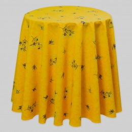 Provence-Tischdecke gelb mit Oliven, Baumwolle, rund 140 cm