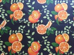 Orangen, beschichtete Baumwolle, Breite 155 cm