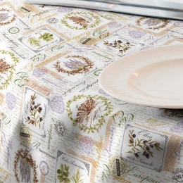 Dekostoff Kräuter, Oliven und Lavendel, sehr pflegeleicht, Breite 140 cm