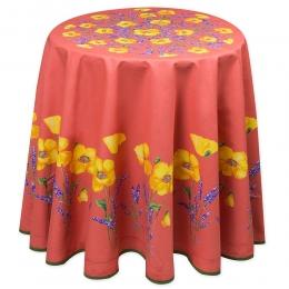 Tischdecke rund Orange mit Mohnblumen, Baumwolle, ca. 180 cm
