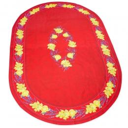 Tischdecke Oval, Rot mit Sonnenblumen, ca. 240x150cm