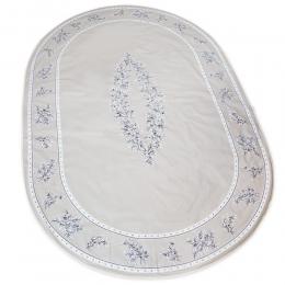 Ovale Decke beige Oliven 240x150cm, beschichtete Baumwolle
