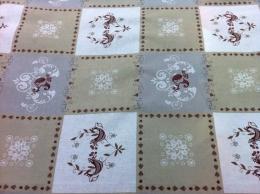 Baumwolle, beige-ecru mit Quadraten, 160 cm Breite