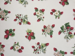 Panama Erdbeeren und Blüten, Breite 160 cm