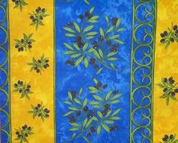 Tischdecke blau-gelb Oliven abwaschbar 200x140 cm