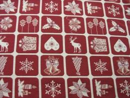 Doubleface Karo Rot-beige, Weihnachten, Breite 140 cm