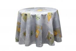 Grau - Ecru mit Olivenmustern abwaschbar, rund 180 cm