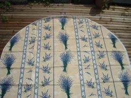 Ovale Tischdecke 200x140 cm Natur-beige Lavendel