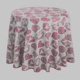 Landhaus-Tischdecke, Beige mit roten Herzen, 180 cm rund