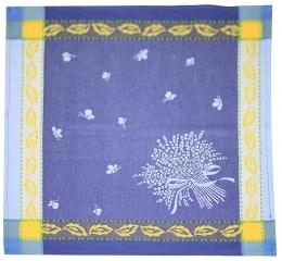 4 Servietten Jacquard blau Lavendel Baumwolle